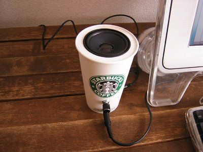 Starbucks Cup Speakers- seriously neat