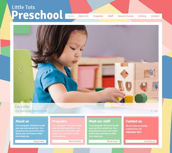 preschool website template free web design pinterest css