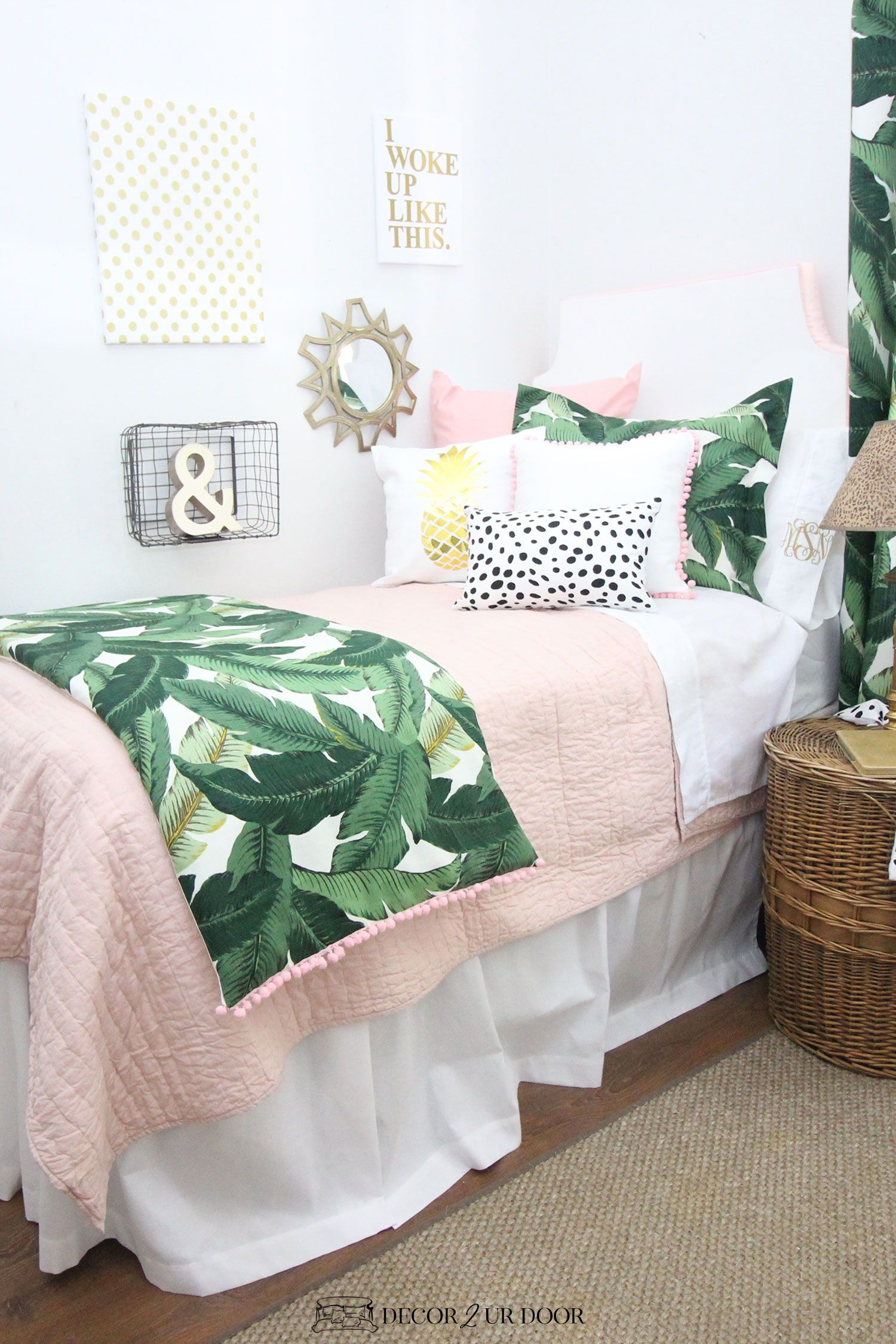 Blush Pink Dorm Room Ideas And Inspiration Pink Dorm Rooms Dorm Room Designs Designer Dorm Bedding