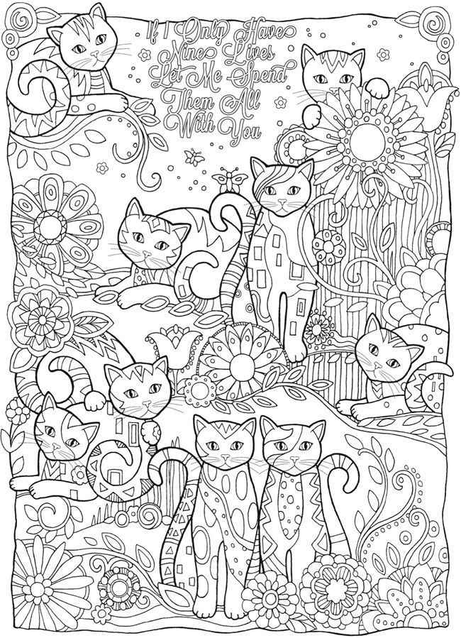 Adult Coloring Books Pages Cats - Coloring Page