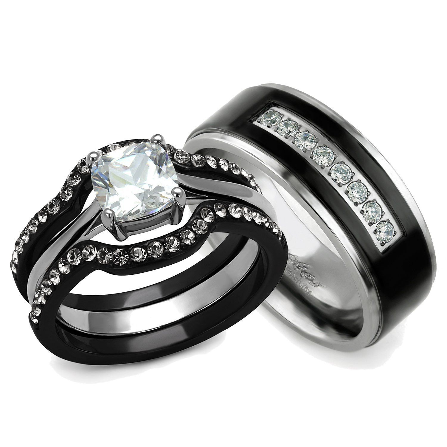 his & hers engagement & wedding ring set black / silver ion plated