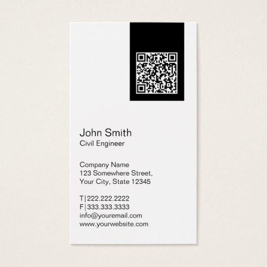 Modern Qr Code Civil Engineer Business Card Zazzle Com In 2021 Qr Code Business Card Business Cards Creative Name Card Design
