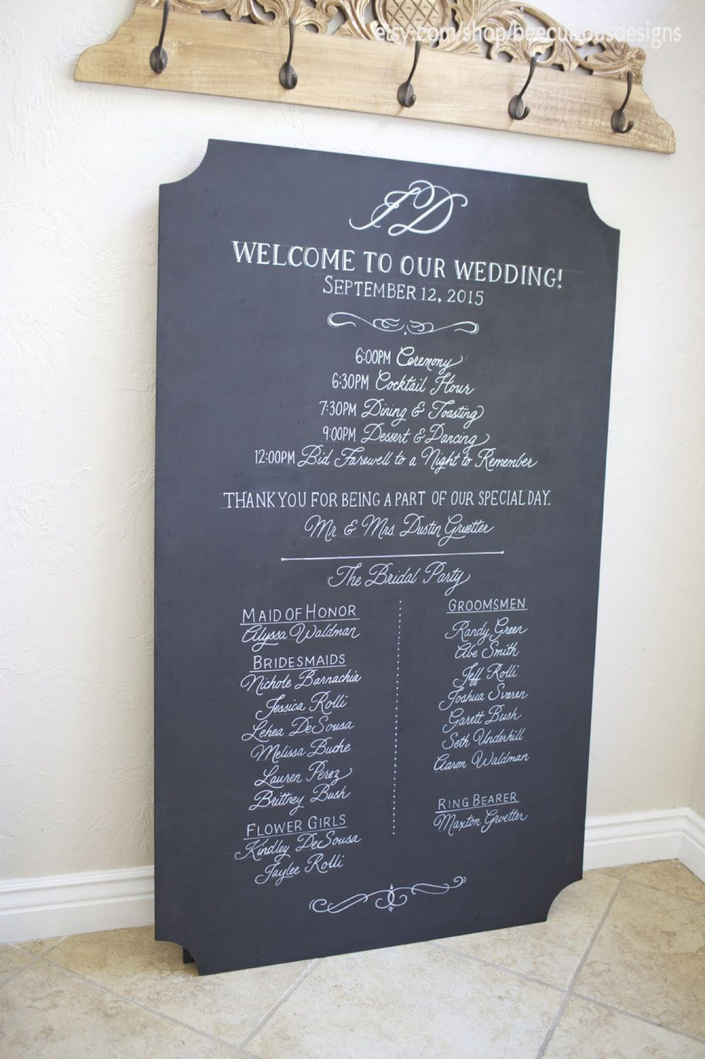 Extra Large Custom Painted Chalkboard Wedding Program And Welcome Sign With Fancy Cut Corners