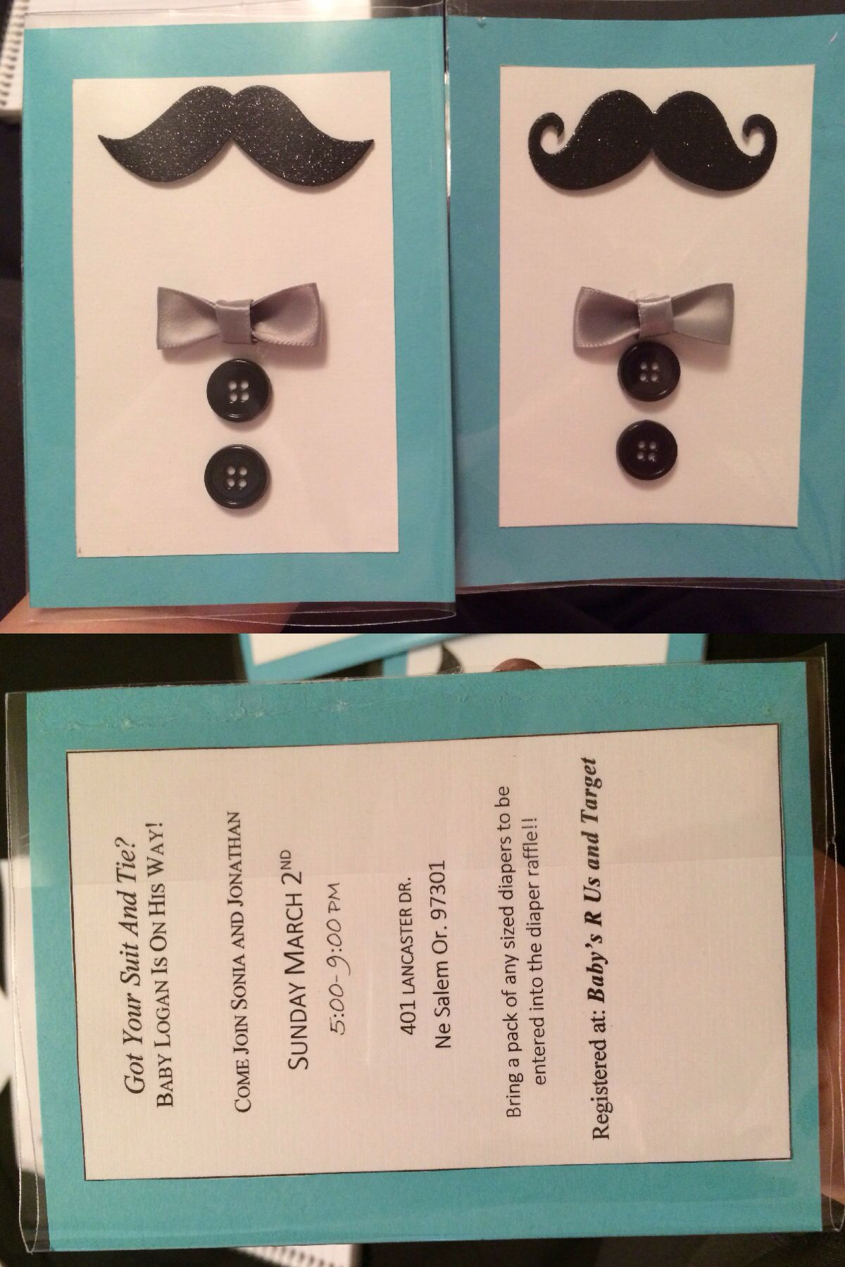 DIY mustache and bow tie baby shower invitations..!!! Keeping it ...