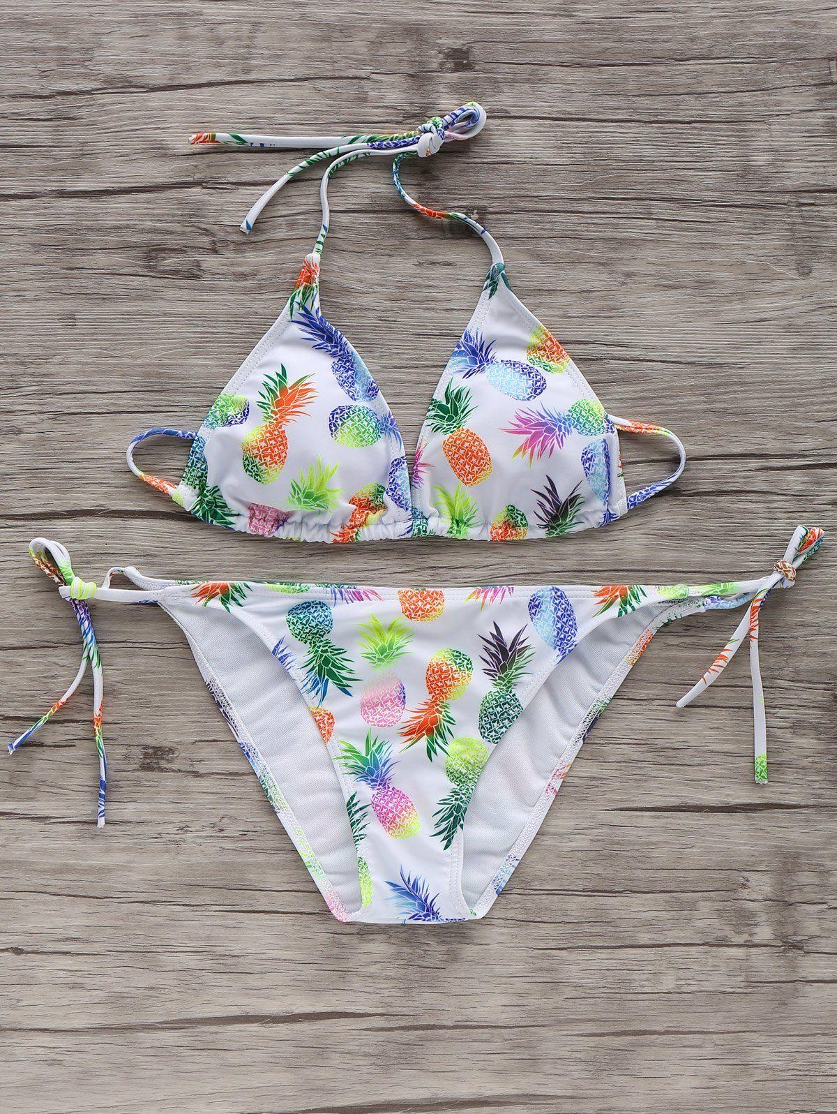 Charming Pineapple Print Self Tie String Bikini Set For Women
