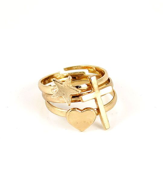 Sweet Dreams gold stack rings great for Secret Santa gift & stocking fillers Heart Cross Star