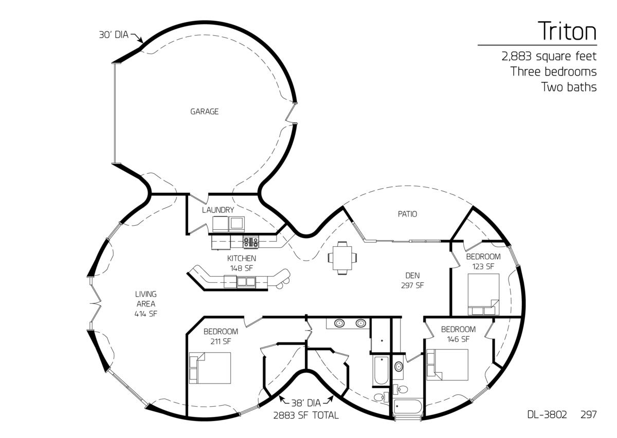 floor plan: dl-3802 | monolithic dome institute ** triton 2,883 sq