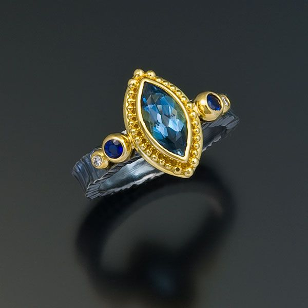 oxidized sterling silver 22kt gold aquamarine ring