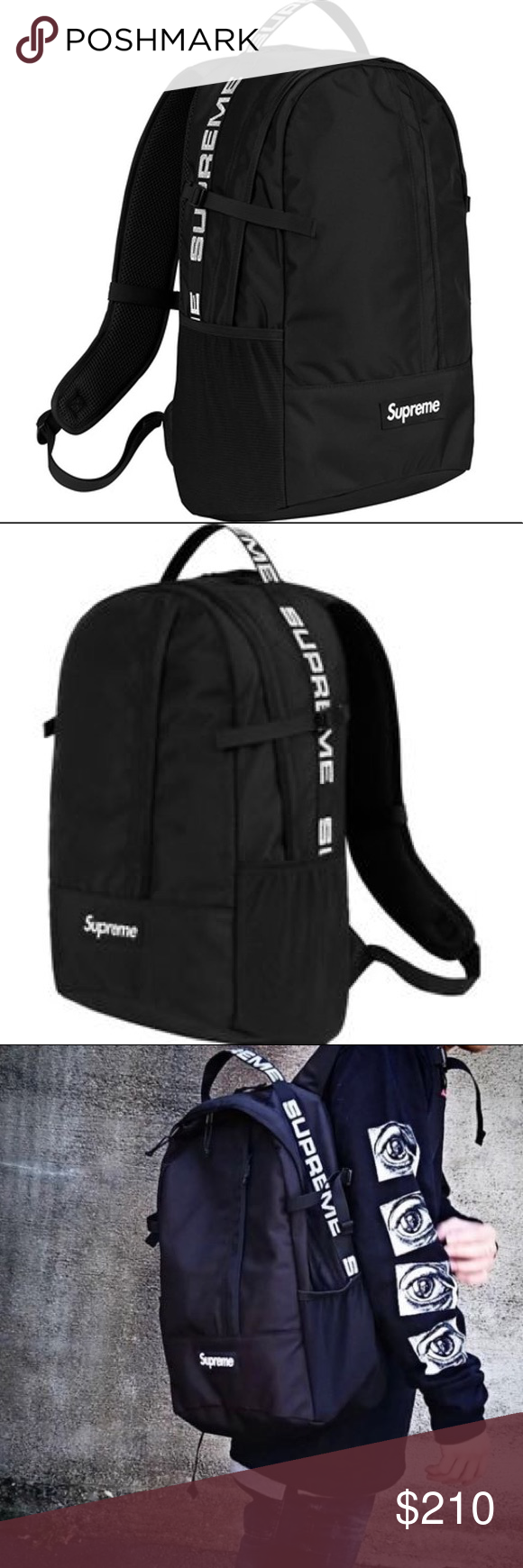Authentic Supreme Black Backpack Ss18 New With Tags And Edition Spring Summer 2018 Collection