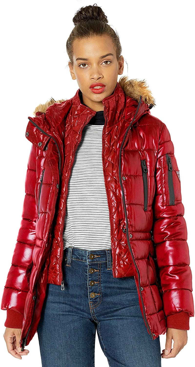 Guess Women S Hooded Liquid Cire Puffer With Removable Faux Fur Trimclothing Amazon Affiliate Link C Quilted Puffer Jacket Red Jacket Women S Coats Jackets [ 1500 x 799 Pixel ]