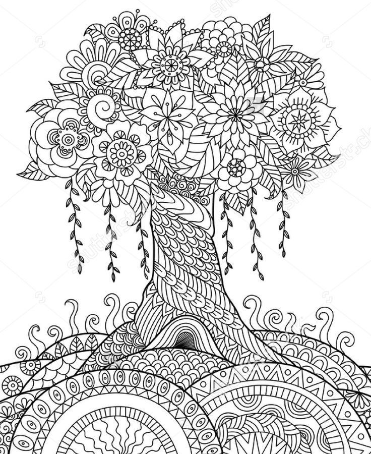 zentangle tree on a hill Zintangle Pinterest Adult coloring - copy coloring pictures of flowers and trees