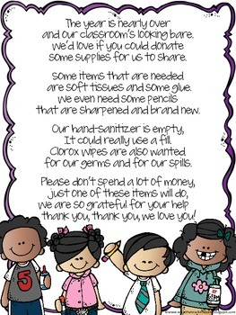 Cute Poem End Of Year Donation Letter To Parents Letter To