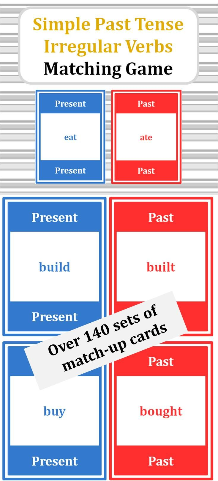 Simple Past Tense Of Irregular Verbs Card Set Snap Slap Memory