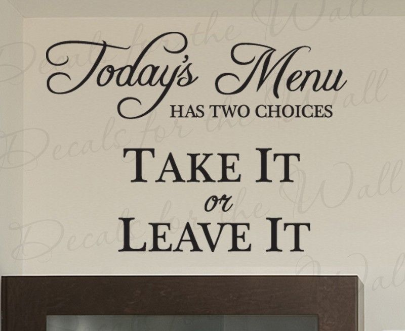 Christian Wall Stickers Quotes Today S Menu Take It Or Leave Travel With Plane Quote Decals Living Room Vinyl