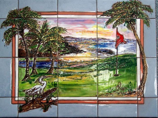 Carolyn Payne Murals Patio Mural Hand Painted Ceramic Tile With A Border Effect