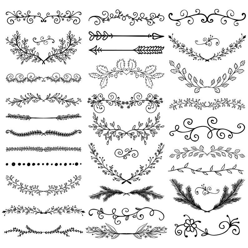 Divider Elements, Hand Drawn, Elements Clipart, Borders Clip art, Flourish swirls, Floral frames,Han #framesandborders