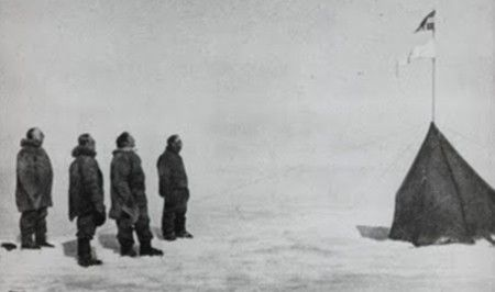The moment of disappointment: finding the Norwegian flag at the Pole: Amundsen had won the race