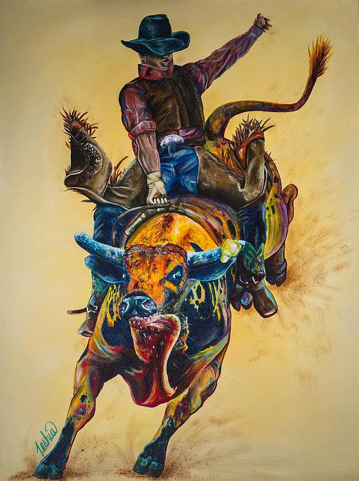Colorful Contemporary Bull Riding Art Painting