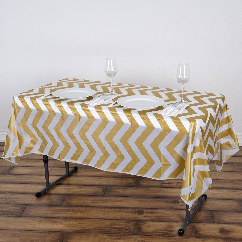 54 X 72 Gold 10 Mil Thick Chevron Waterproof Tablecloth Pvc Rectangle Disposable Tablecloth In 2020 Plastic Table Covers Plastic Tables Table Covers