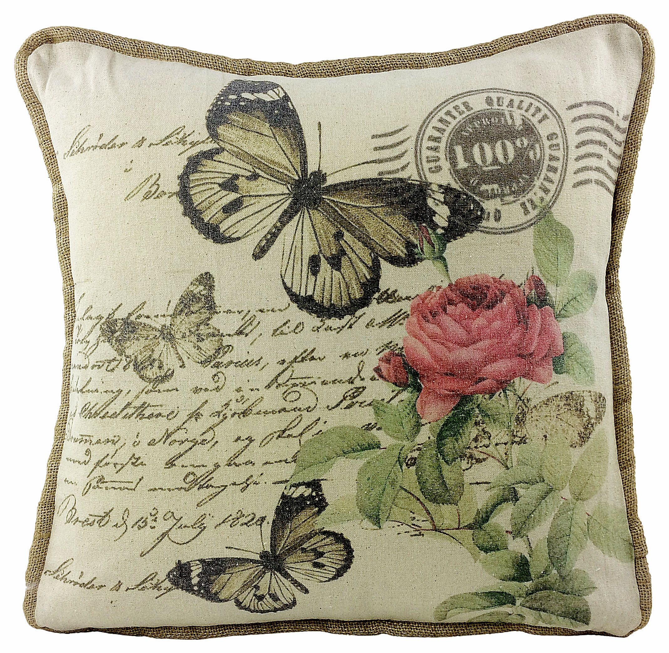 Vintage Butterfly Cushion With Hessian Beading And Script - Florence