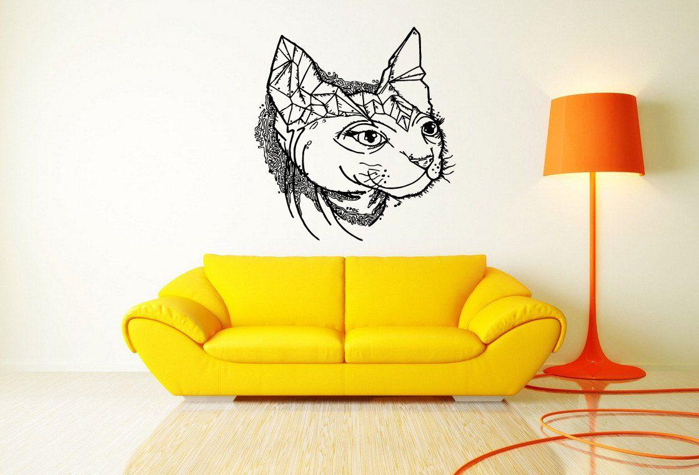 Wall Vinyl Sticker Decals Mural Room Design Decor Art Egypt Cat Head ...