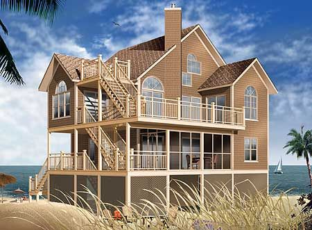 Plan 21573dr Family Vacation Home Plan In 2021 Coastal House Plans Beach Style House Plans Modern Contemporary House Plans