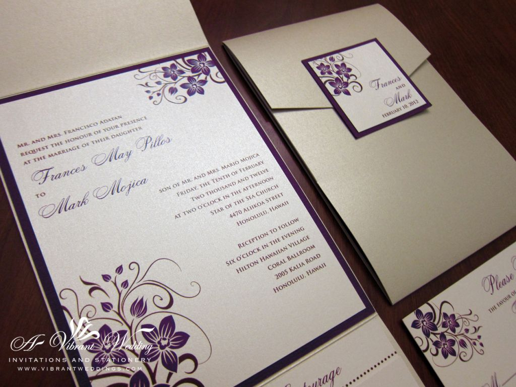 Champagne and Purple Wedding Invitation with Orchid Design | Wedding ...