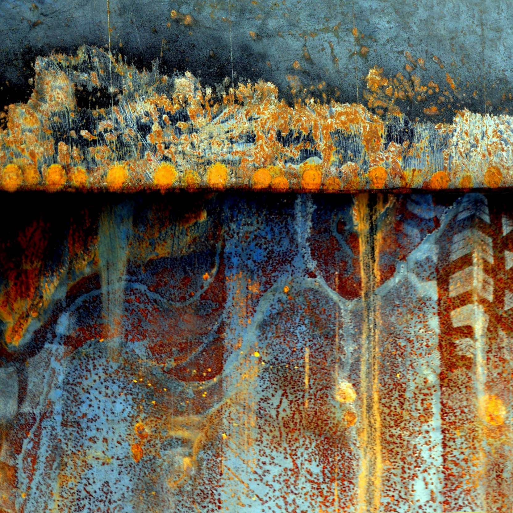 'Evening Spirits', www.LuAnnOstergaard.com. Abstract digital collage in rust and blue.