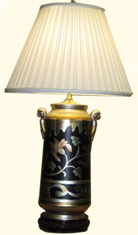 "Asian Table Lamps 34""hmodern Asian Silver Leaf And Hand Painted Floral Porcelain"