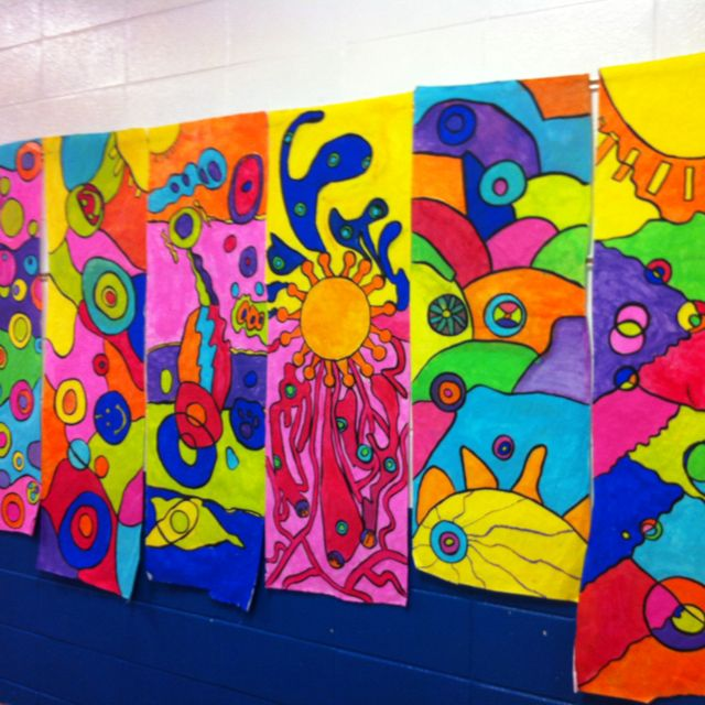 Abstract art from our fifth grade class at Straughn Elementary. Loved seeing these pieces hang in the school hallway this spring!