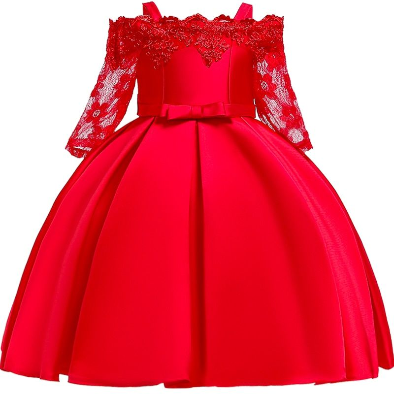 Girls Lace Flower Wedding Baby Girls Big Bow Dresses Princess Kids Party Dress Children Cloth...