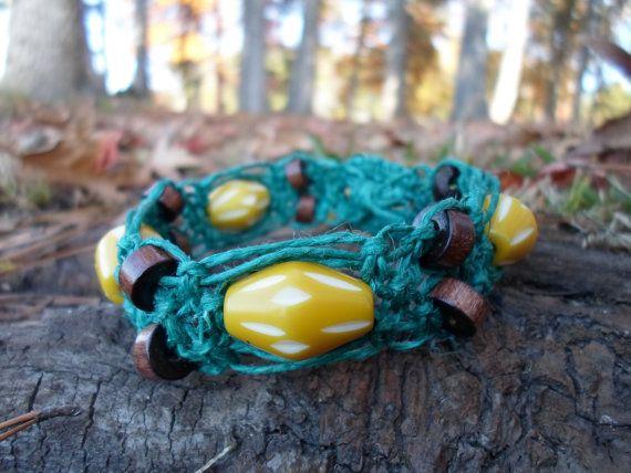 Teal Hemp Yellow Beaded Flower Button Key Charm Wood by HempGalore, $14.00