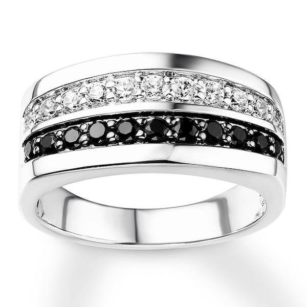 Men's Wedding Band 1 ct tw Black Diamonds 10K White Gold