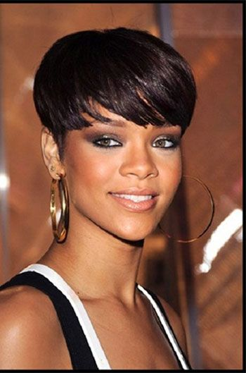 Rihanna Inspired Short Haircut With Full Bangs Human Hair Wigs Hairplusbase Com Rihanna Short Hair Short Hair Styles Natural Hair Styles
