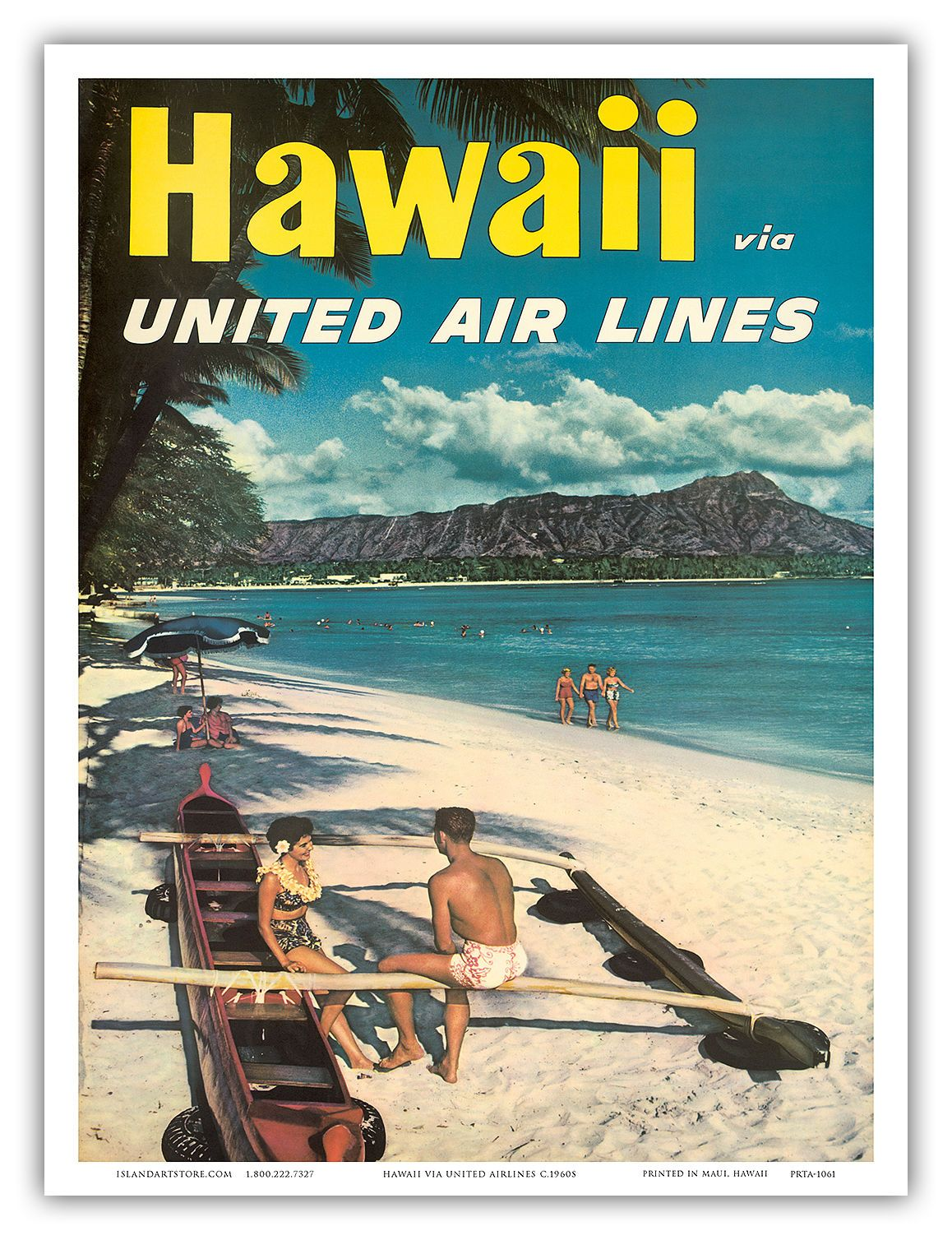 Details About United Air Lines Hawaii Diamond Head 1960s Vintage