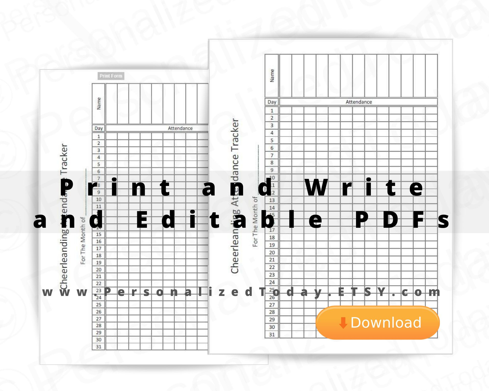 Cheerleading Attendance Tracker Fillable Editable and