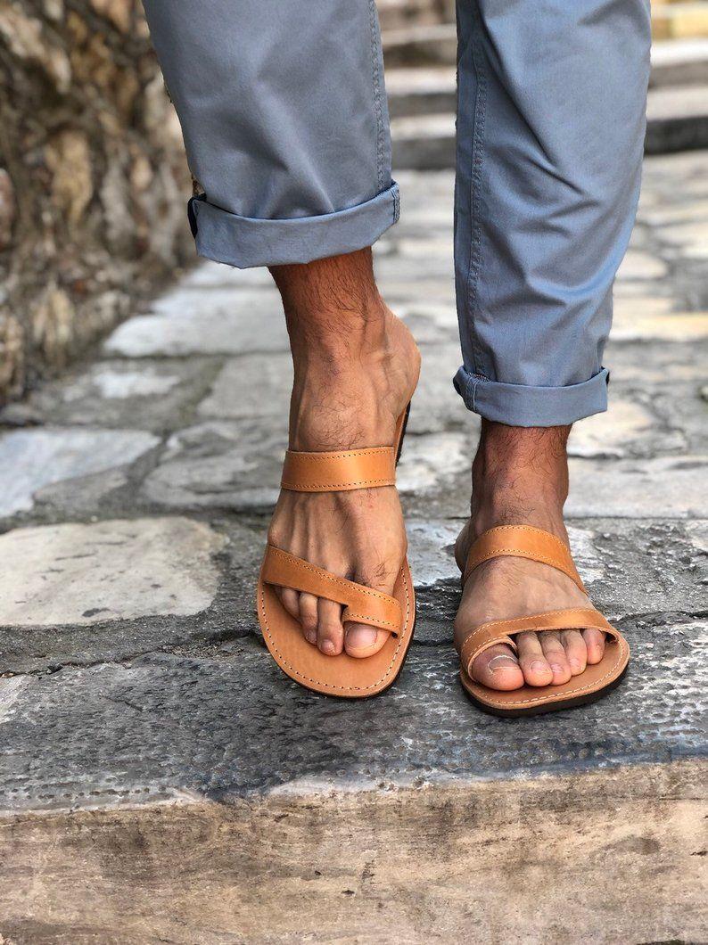 72be312f8660d Leather Sandals Men, Beach Sandals, Greek Sandals, Brown Sandals ...