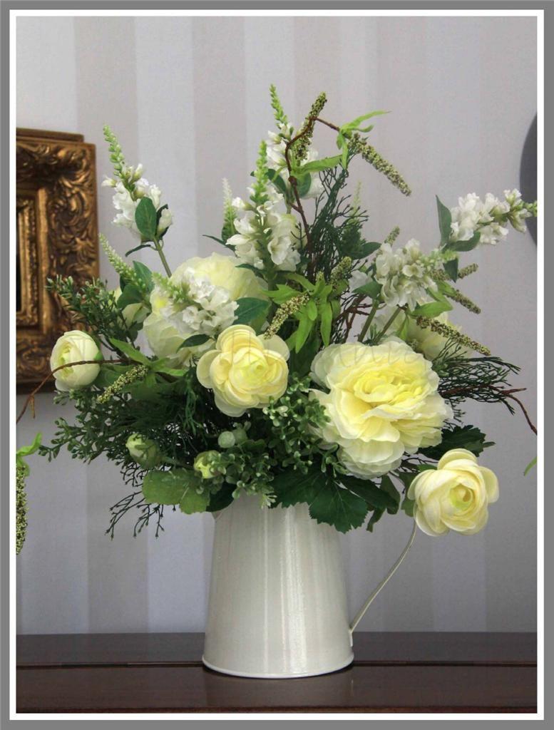 Ivory jug artificial silk flower arrangement available