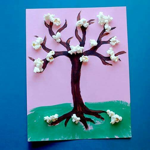 Cherry Blossom Popcorn Tree Kid Craft W Free Printable Template Popcorn Tree Spring Flower Crafts Spring Crafts For Kids