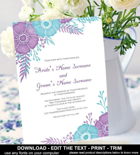 Purple Wedding Invitation Printable Template Instantly Diy Templates Fei T85