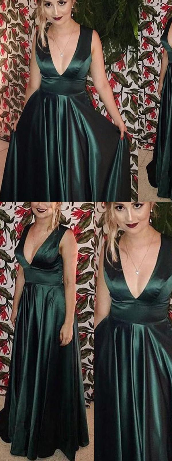 Simple v neck dark green prom dress off the shoulder long evening