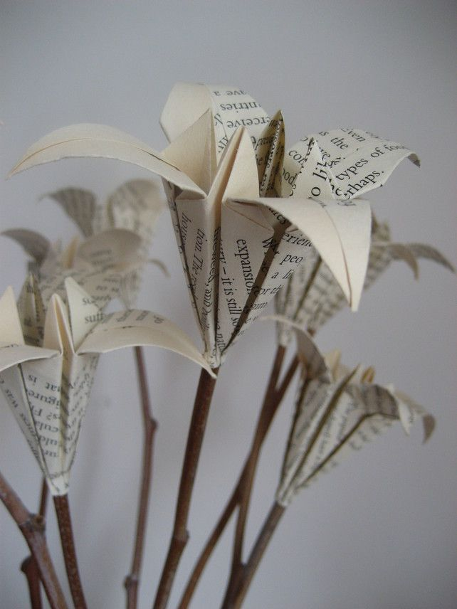 Paper Flower With Natural Stems Origami Lilies Upcycled Home Decor