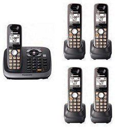 Panasonic Kx Tg6545sk Dect 6 0 Plus Expandable Digital Cordless Phone With Answering System Black 5 Handsets Cordless Phone Telephone Accessories Electronics