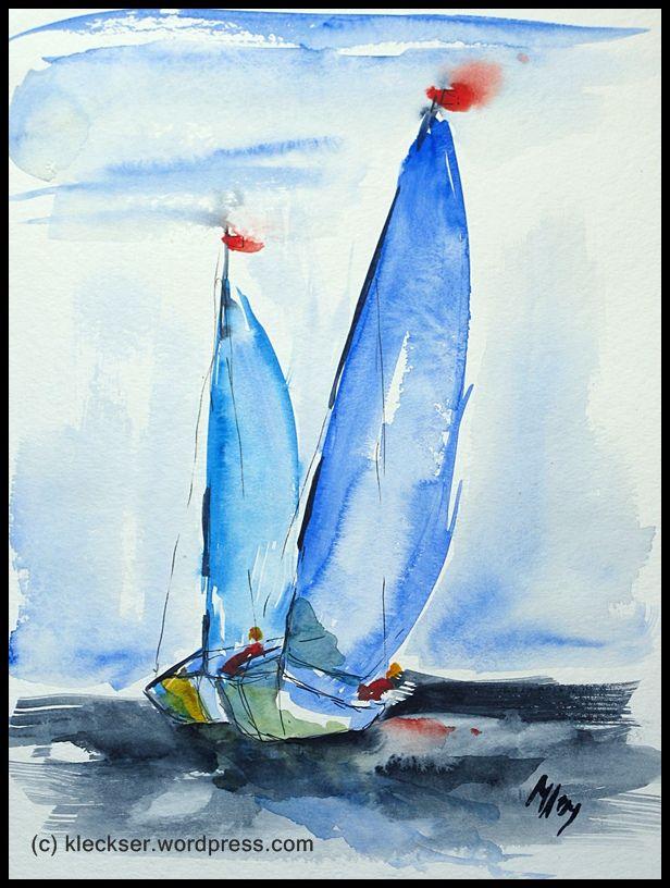 Watercolor Sailboats 2009 Mer Aquarelle Peinture Mer Et Aquarelle
