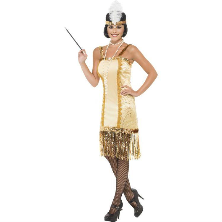 20-tals Charleston Klänning Guld Maskeradkläder från Etrendstore.se ... c163e492de991
