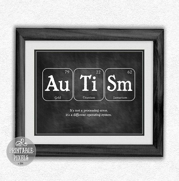 autism periodic table elements 8x10 diy printable chalkboard sign wall art