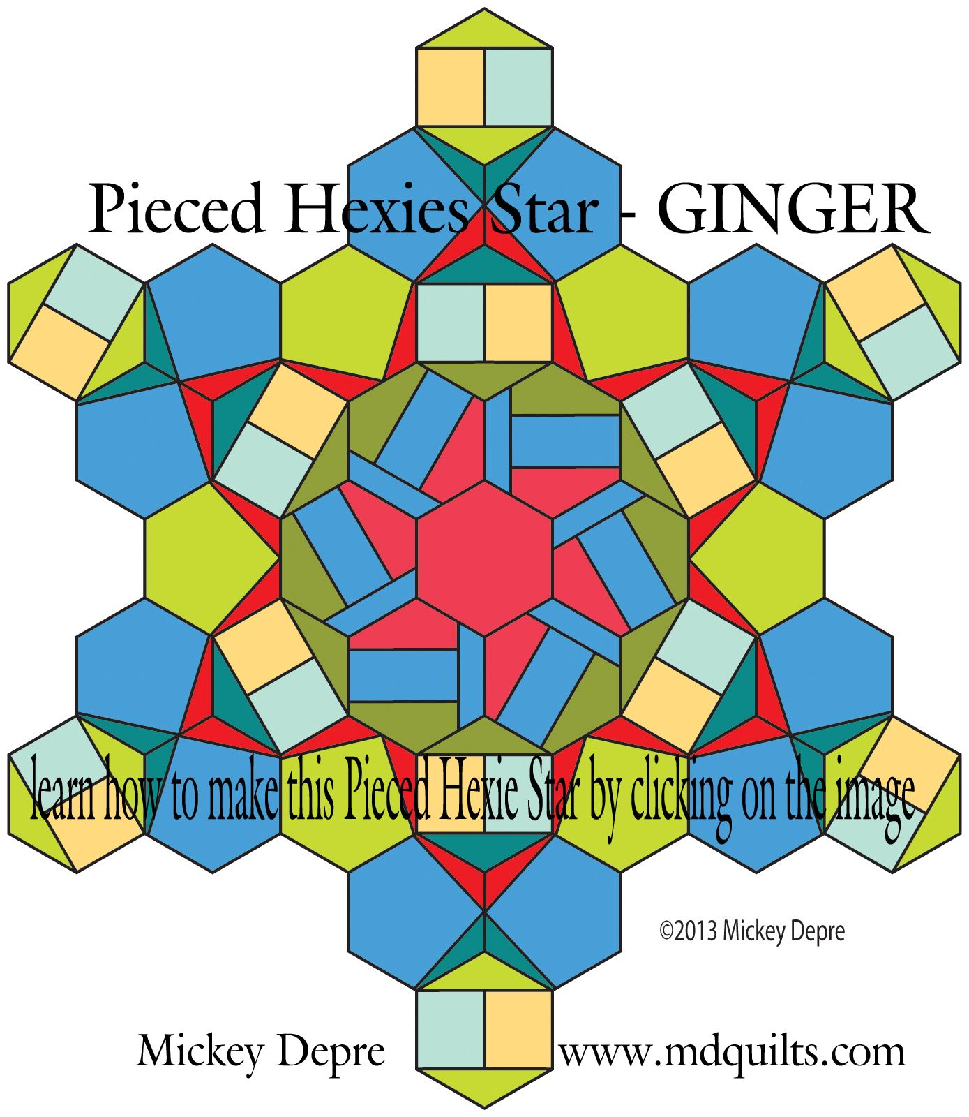 PDF for Pieced Hexie Star - Ginger created by Mickey Depre uses designs found in Pieced Hexies book