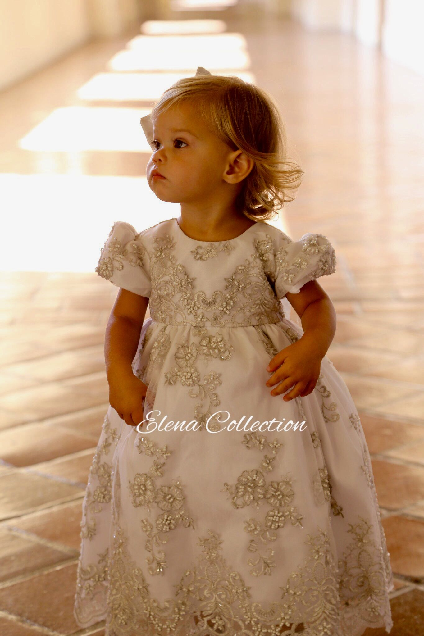 Elena Baby Flower Girl Formal Lace Dress Christening Wedding Party Gown Ivory