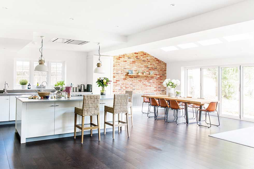 industrial kitchen extension with exposed brick wall | kitchen
