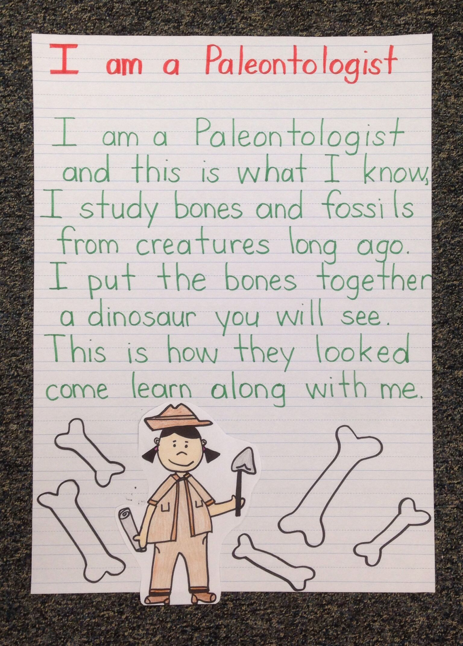 I Am A Paleontologist Poem For Dinosaur Week